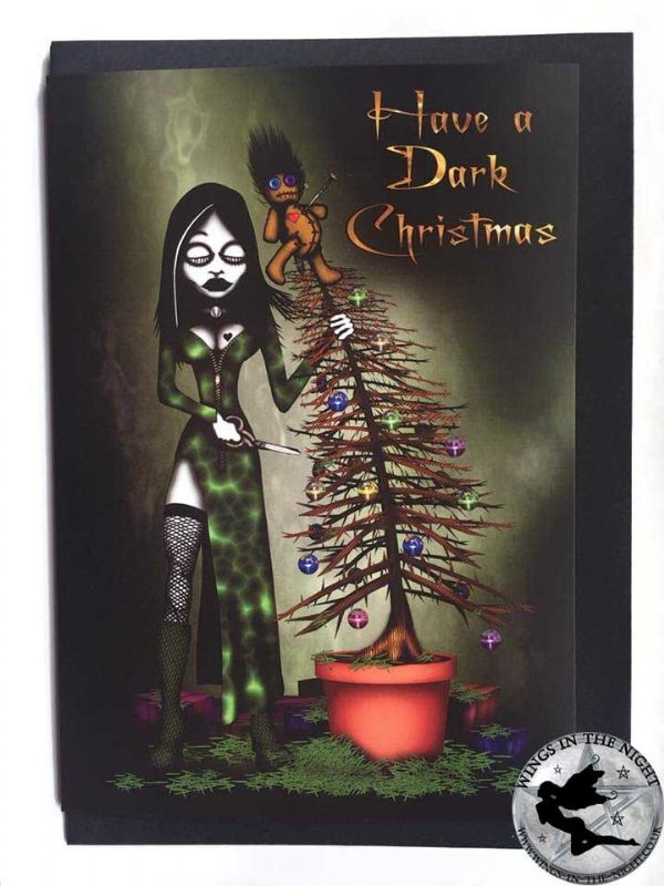 NIGHT MOTH Have a Dark Christmas Gothic Greeting Card